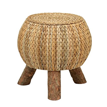Fantastic Amazon Com Hqcc Low Stool Rattan Solid Wood Footstool Straw Gamerscity Chair Design For Home Gamerscityorg