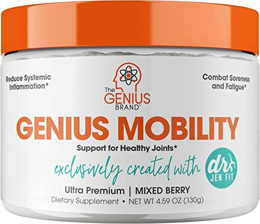 Genius Mobility & Joint Support Supplement Powder - Move Better w/Turmeric & NEM Egg Shell Membrane, Knee, Back, & Hip Support for Joint Health, Super Strength for Aches & Soreness Free by DocJenFit