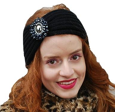 QueenMee Women s Turban Headband Diamante Headband Earwarmer Ladies Head  Band Ear Warmer Winter Headband Hair Band Hairband Knitted Headband Ski  Headband ... a18b955b5ff8