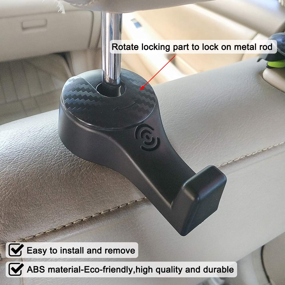 SENZEAL 2x Ganci per sedile posteriore ABS Supporto poggiatesta ABS universale per borsa Shopping Panno Panno nero