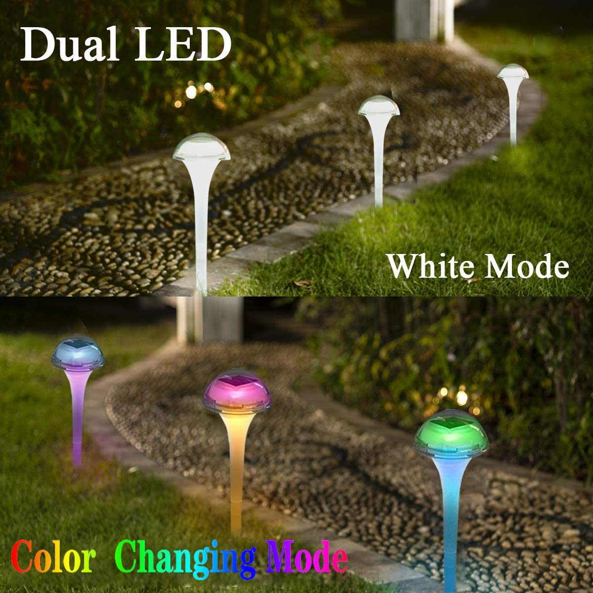 6pack-mushroom pearlstar Solar Lights Outdoor Garden Pathway Lights LED Landscape Lighting Waterproof for Path Lawn Patio Yard Walkway Driveway,4 LED Bulbs/& 2 Lights Effect,White/&Color Changing Light