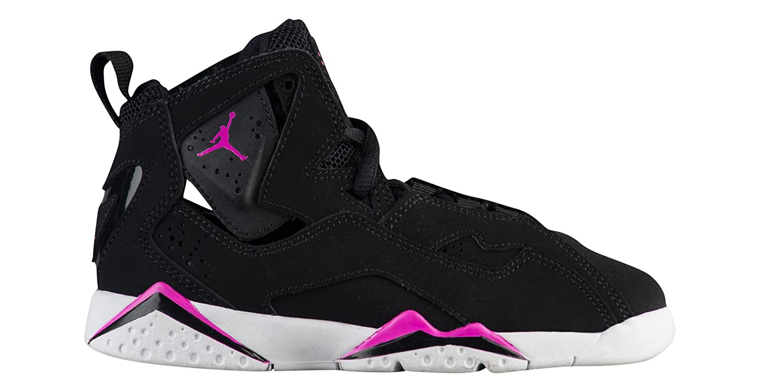 sports shoes 3da2f f7da8 Amazon.com | NIKE Girl's Jordan True Flight(PS), Black/Fuchsia Blast-White,  11.5C | Basketball