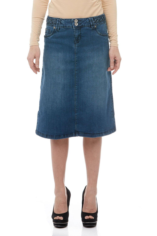 chouyatou Womens Basic High-Waist A-Line Short Denim Skirt
