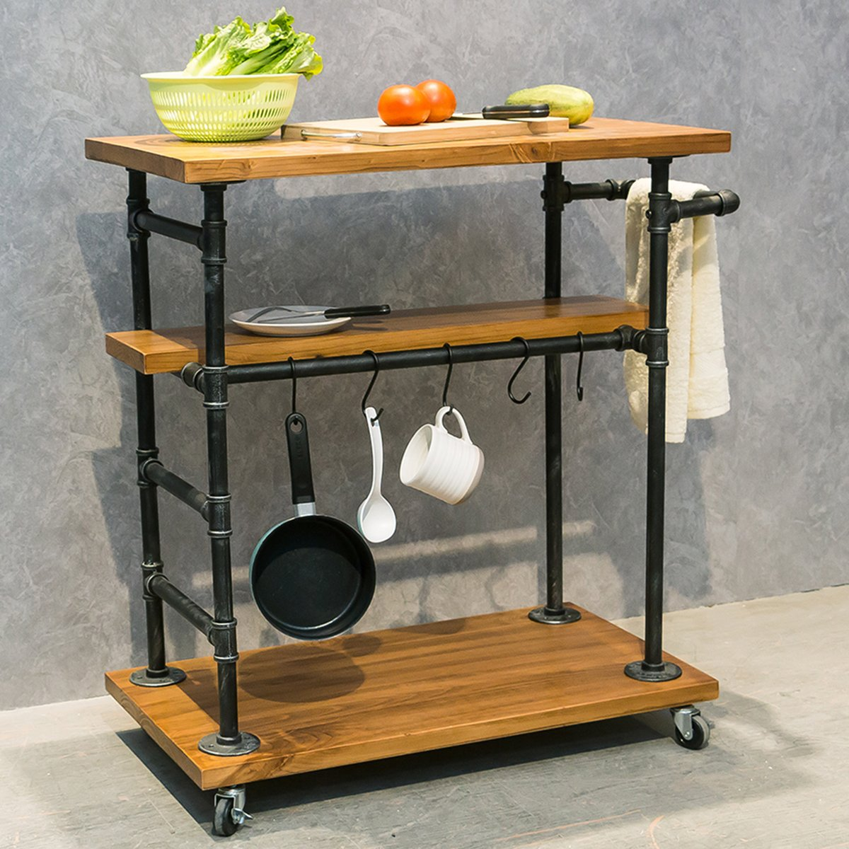 Industrial Portable Kitchen Island Cart