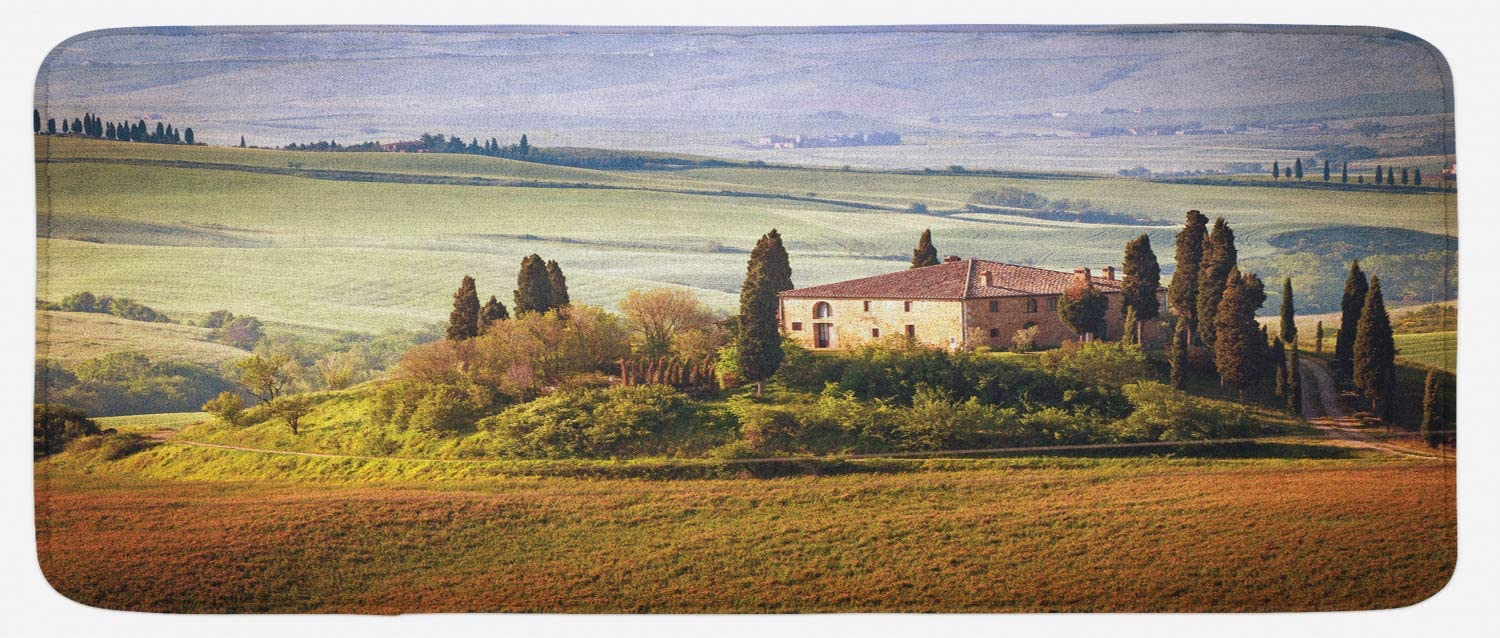 """Lunarable Tuscan Kitchen Mat, Tuscany Seen from Stone Village of Montepulciano Italy in Cloudy Day, Plush Decorative Kithcen Mat with Non Slip Backing, 47"""" X 19"""", Green Brown"""