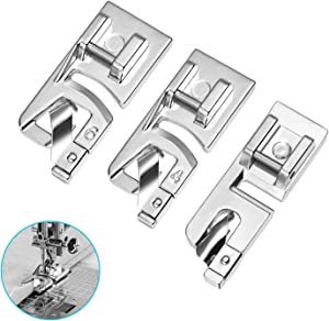 HQMaster Narrow Rolled Hem Presser Foot Sewing Machine Roll Roller Hemmer Press Feet Fits Most Low Shank Snap-On Singer, Brother, Euro-Pro, Janome, Kenmore, White, Juki, Simplicity, Elna (3mm 4mm 6mm)