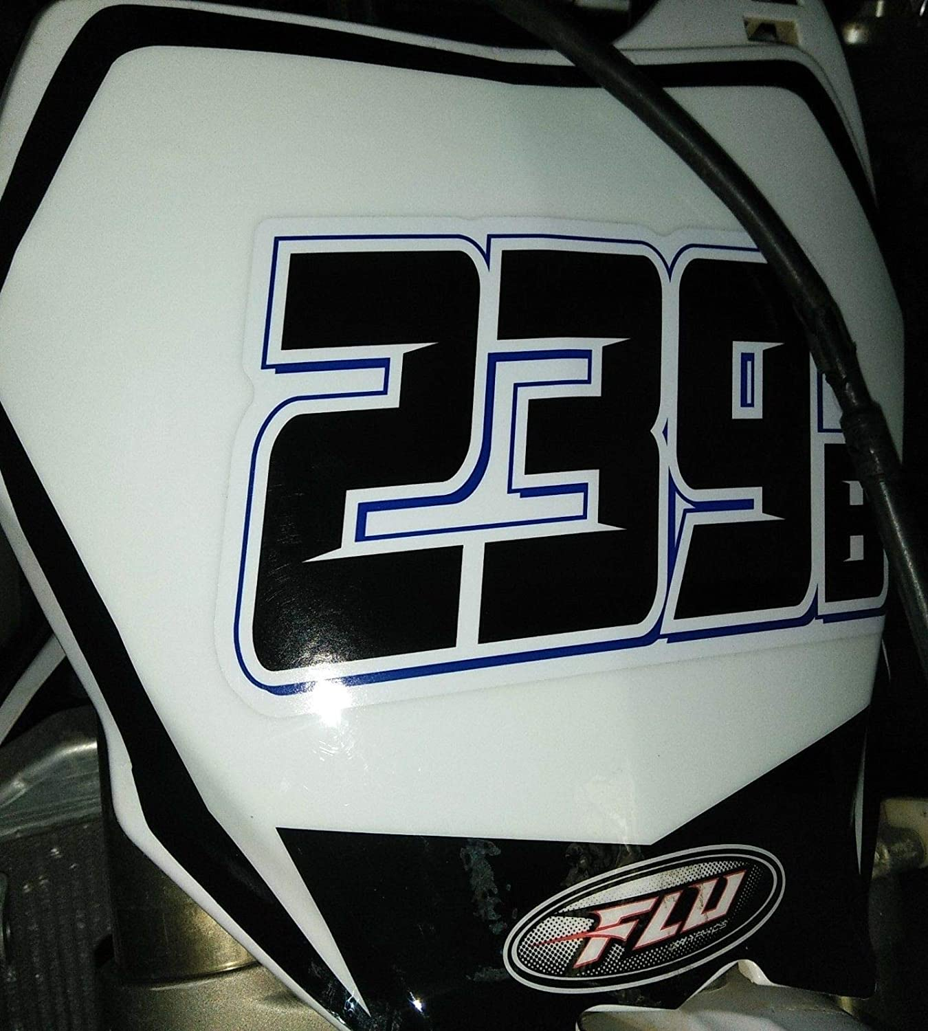 Set of 3 Multicolored Race Numbers MX /& ATV Number Plate Decals You Pick Your Number /& Colors