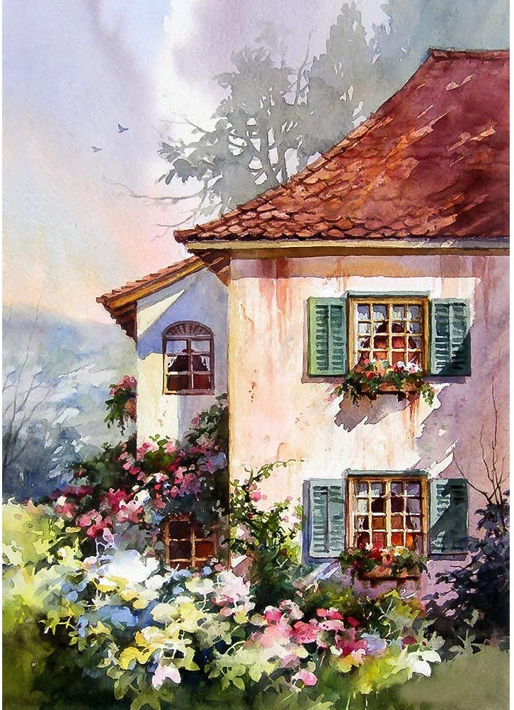 DIY 5D Diamond Painting Kits for Adults & Kids Garden Cottage Full Drill Round Crystal Gem Art Painting by Number Kits Perfect for Home Wall Decor Gift (12x16inch)