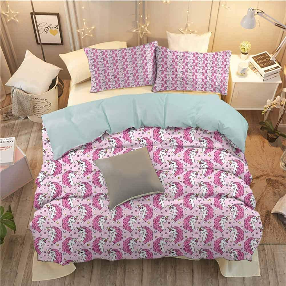 Toopeek Unicorn Party Hotel Luxury Bed Linen Girly Horses with Horns on Stars Background Childhood Fantasy Polyester Pink White and Yellow Soft and Breathable Twin