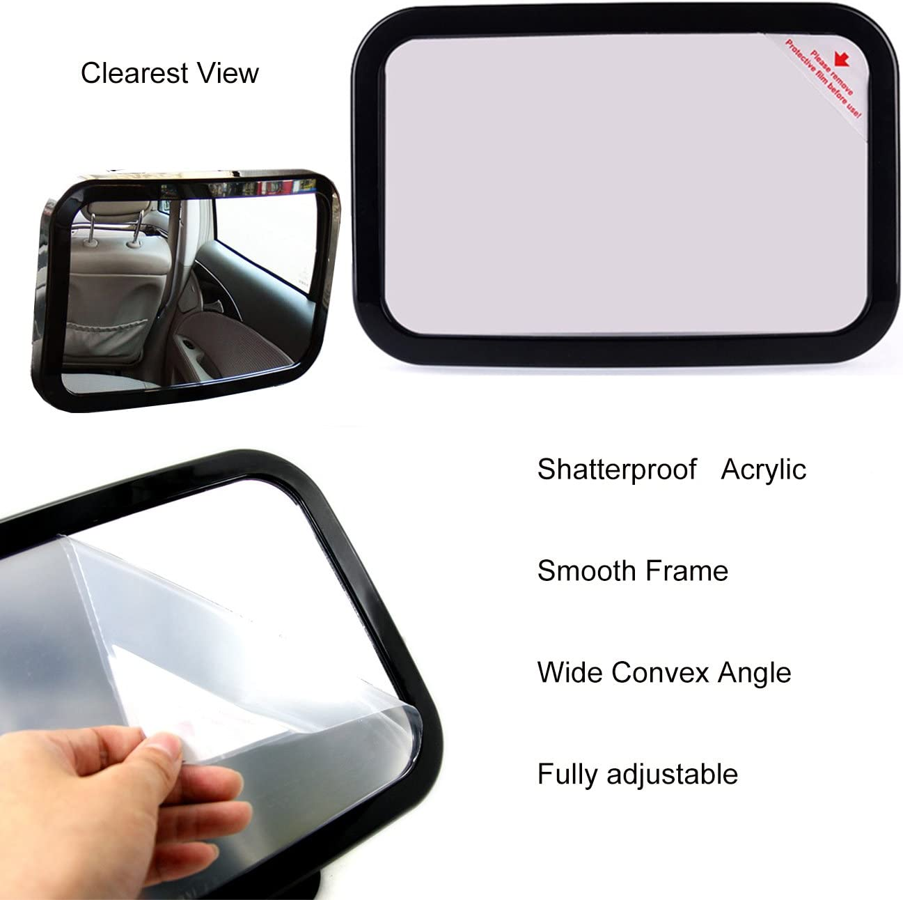 360 Degree Adjustability Shatterproof by RCRunning 2pcs Car Side Window Shade Baby Car Mirror for Rear View Huge Back Seat Baby Mirror FREE Cleaning Cloth