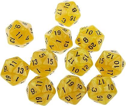 10pcs Juegos de Mesa Dados de Veinte Caras D & D TRPG Padrón de Perla - Amarillo: Amazon.es: Juguetes y juegos