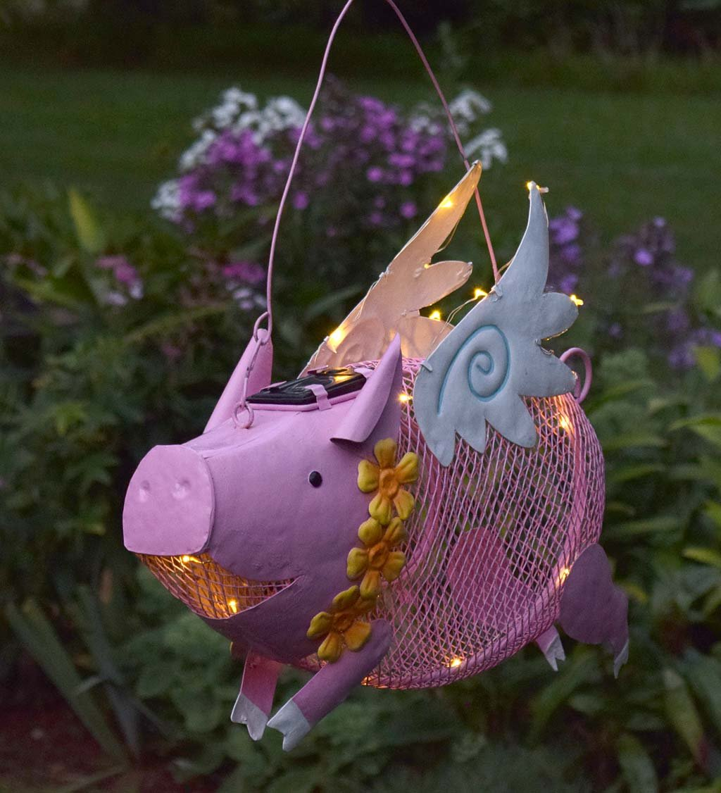 Outdoor Solar LED Lighted Hanging Metal Flying Pig Bird Feeder, 15 L x 4.5 W x 14.5 H