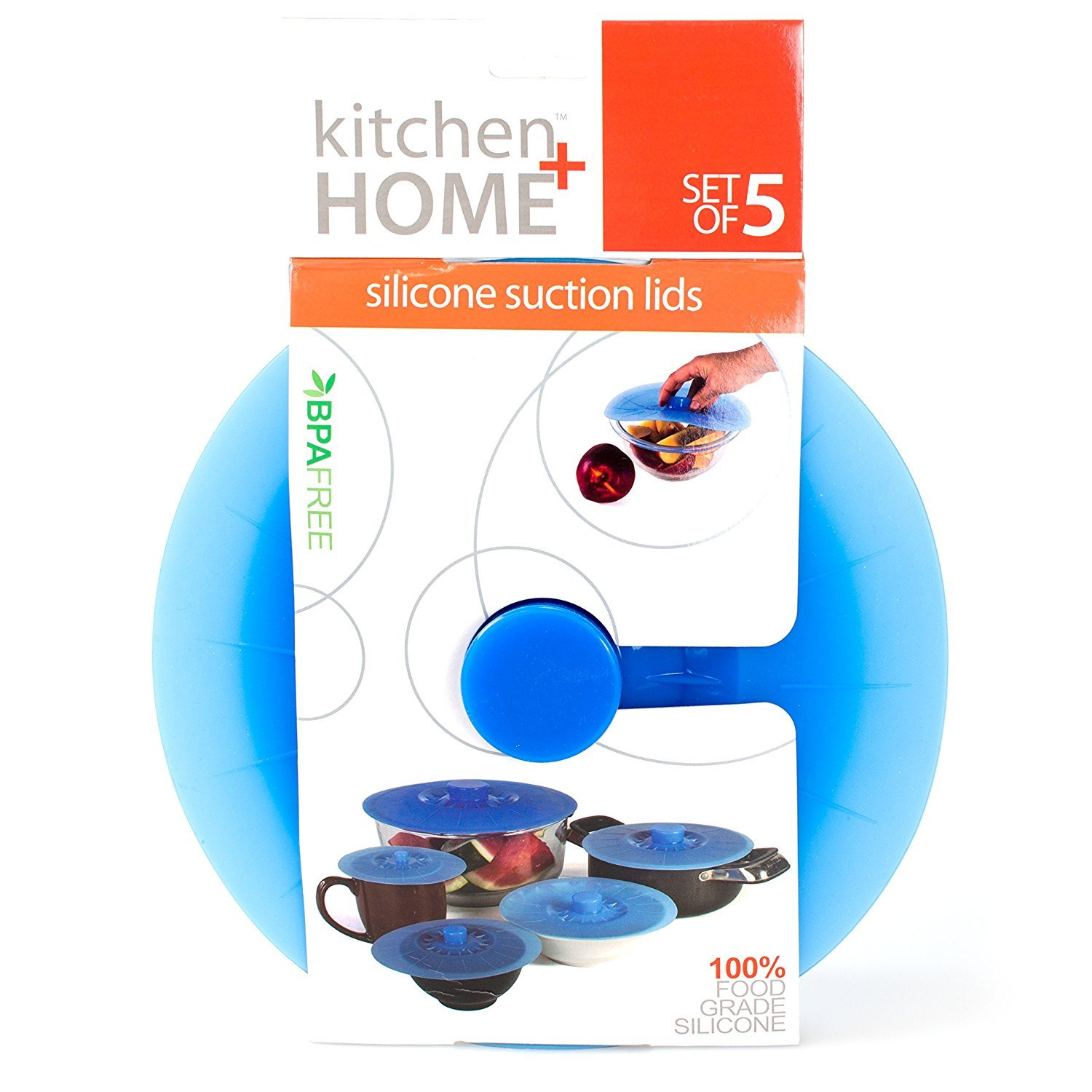 Kitchen + Home Silicone Suction Lids and Food Covers - Set of 5 - Fits various sizes of cups, bowls, pans, or containers!