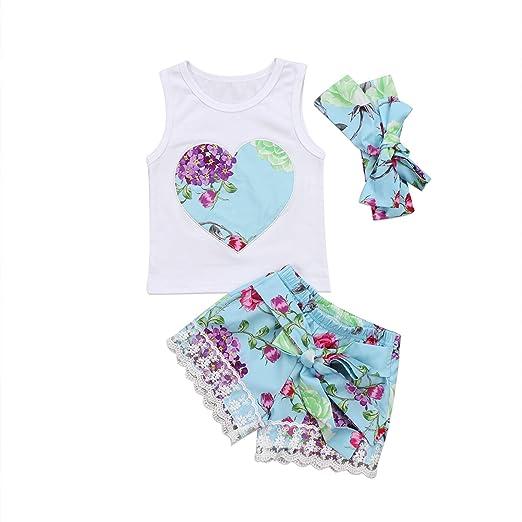 d80123f1f Amazon.com  Baby Kids Girls Lace Floral Outfits Vest Top Shirt Pants ...