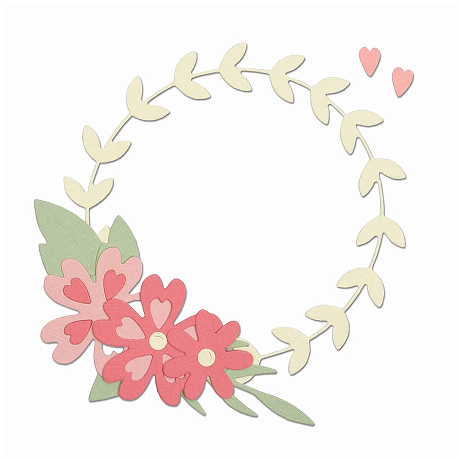 Sizzix 663377 Floral Wreath Dies, Multicolor