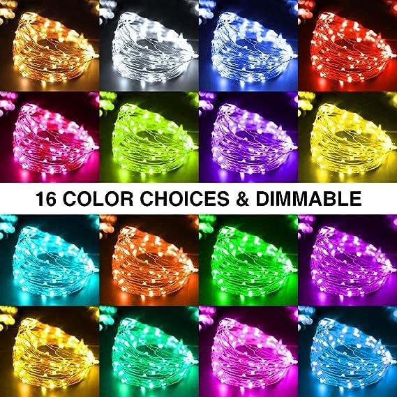 D/écoration Int/érieur pour No/ël Contr/ôle USB et T/él/écommande 16 Couleurs 4 Modes Guirlande LED Multicolore 100 LED IP65 Etanche Sapin Onforu 2 X 10M RGB Guirlande Lumineuse de Couleur Soir/ée