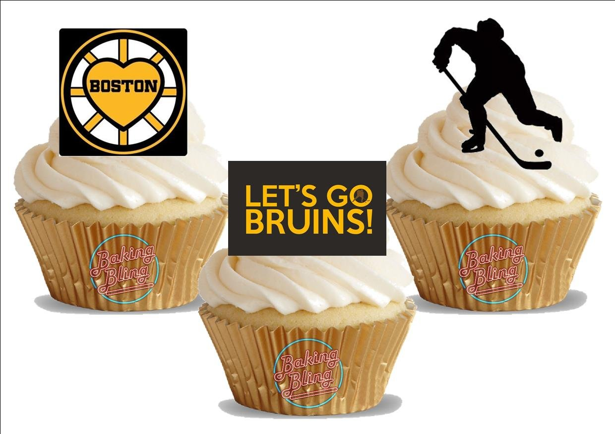 Amazon Ice Hockey Boston Bruins Trio Mix Fun Novelty Birthday PREMIUM STAND UP Edible Wafer Card Cake Toppers Decoration Kitchen Dining