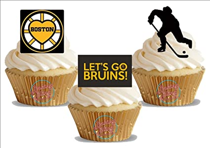 Ice Hockey Boston Bruins Trio Mix Fun Novelty Birthday PREMIUM STAND UP Edible Wafer Card