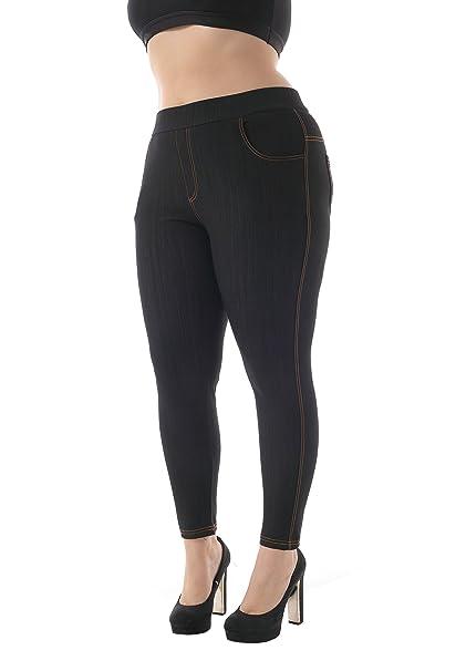 2b659f5b57d ZERDOCEAN Women s Plus Size 4 Pockets Stetchy Long Jeggings Tights Leggings  Black 1X