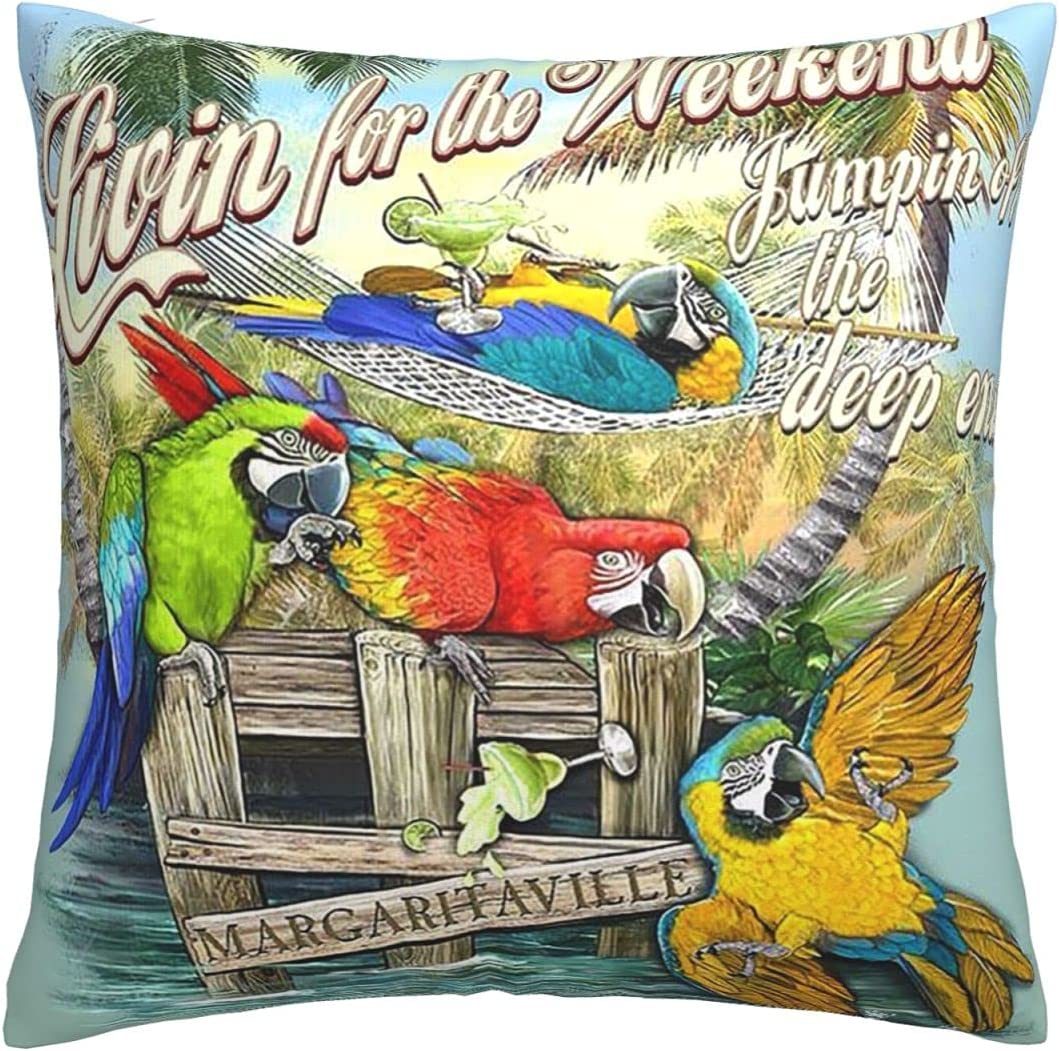 Bclghy Pillow 18inch18inch Margaritaville Parrot Party Mordern Decorative Zippered Square Pillow Covers Cushion Hold for Sofa Bedroom Car Home Decor