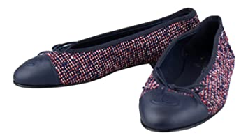656cf8e04bceb Image Unavailable. Image not available for. Colour: CHANEL Multi-Color Tweed  W/ Leather Cap Toe Ballerina Flats ...
