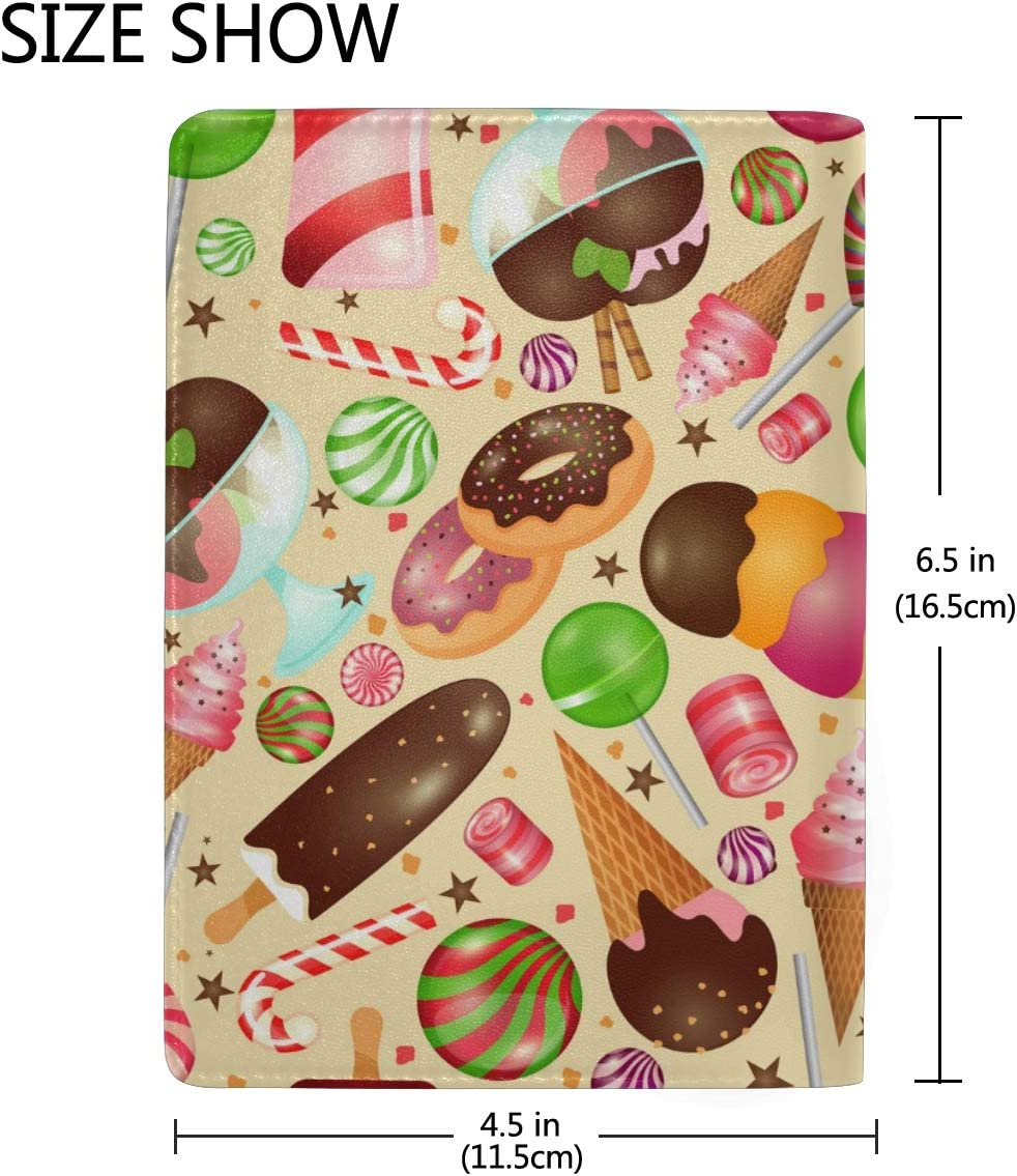 Color Donuts Fashion Leather Passport Holder Cover Case Travel Wallet 6.5 In