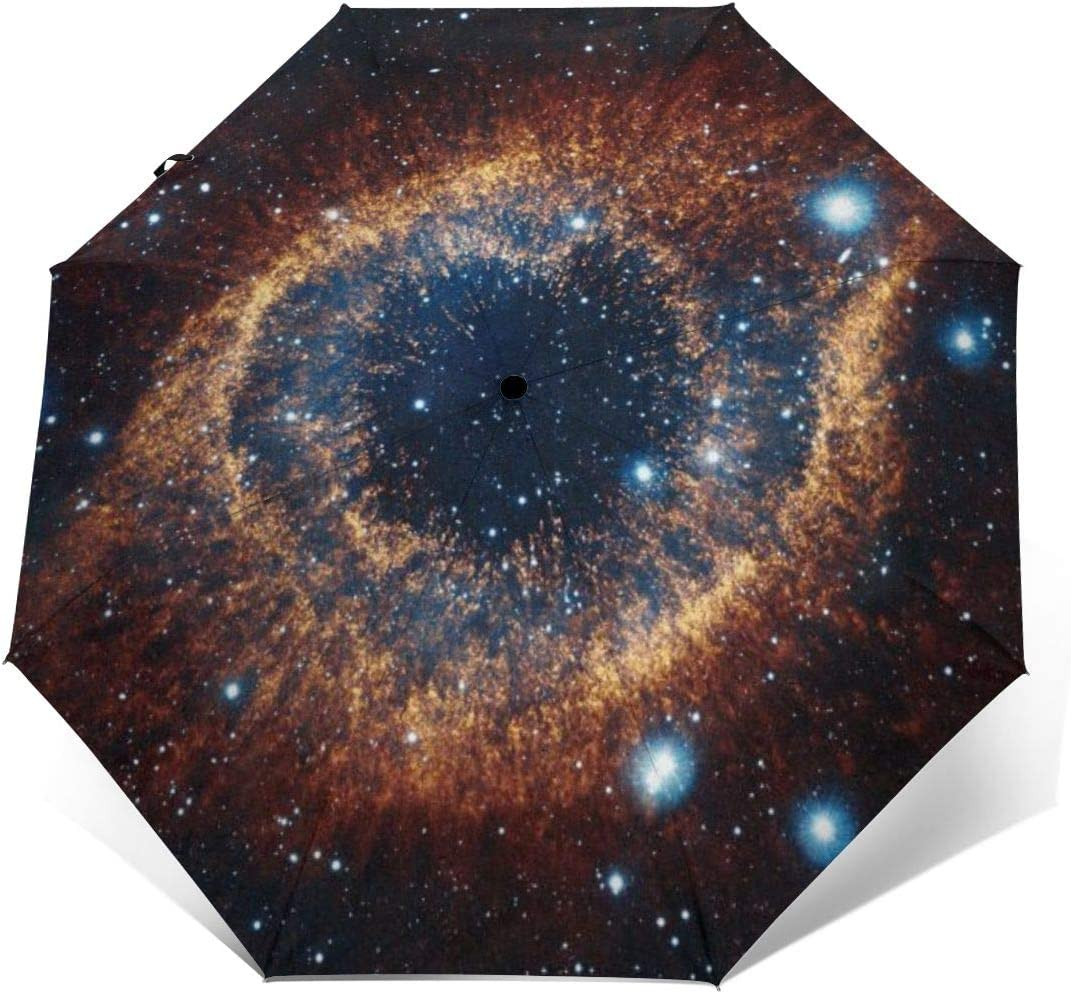 Galaxy Nebula Automatic Windproof Travel Umbrella Compact Canopy With Black Glue And UV-resistant Coating