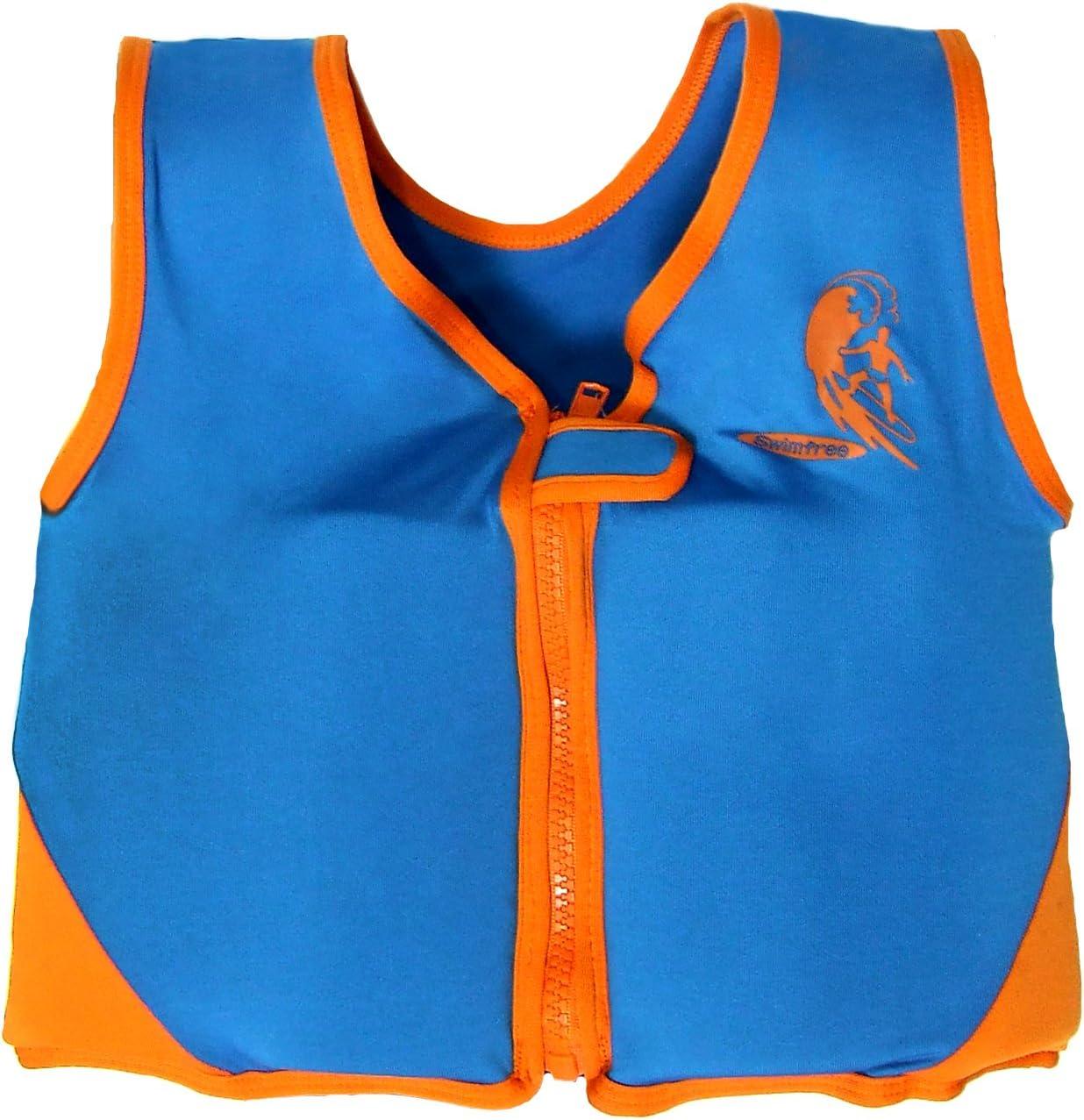 Swimfree Boys Blue//Orange Swim Vest Learn-To-Swim Floatation Jackets Size Large For Kids Age 5.5-7.5 Years Old