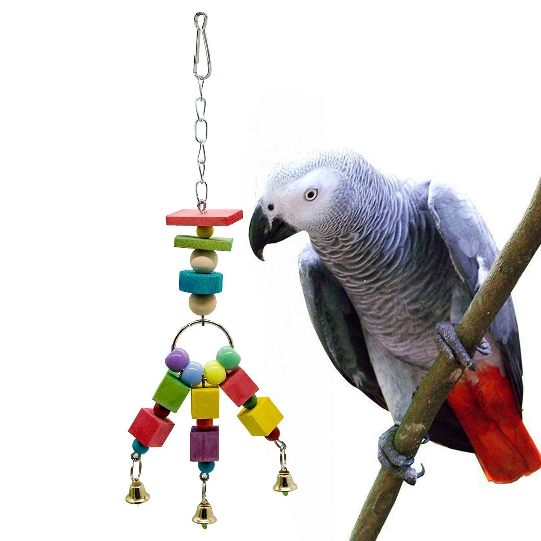 Limin Giocattolo da masticare per uccelli, forniture per pappagalli Blocchi a sospensione durevoli in legno colorati Bead String Bite Grande medio e piccolo Pet Bird Stand Rack Gioco giocattolo