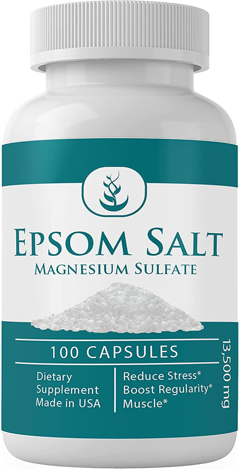 Magnesium Sulfate (Epsom Salt) 100 Capsules, 13500 mg Serving (20 Capsules/Serving), Relieve Occasional Constipation, Improve Sleep, Detoxify The Body, All-Natural*