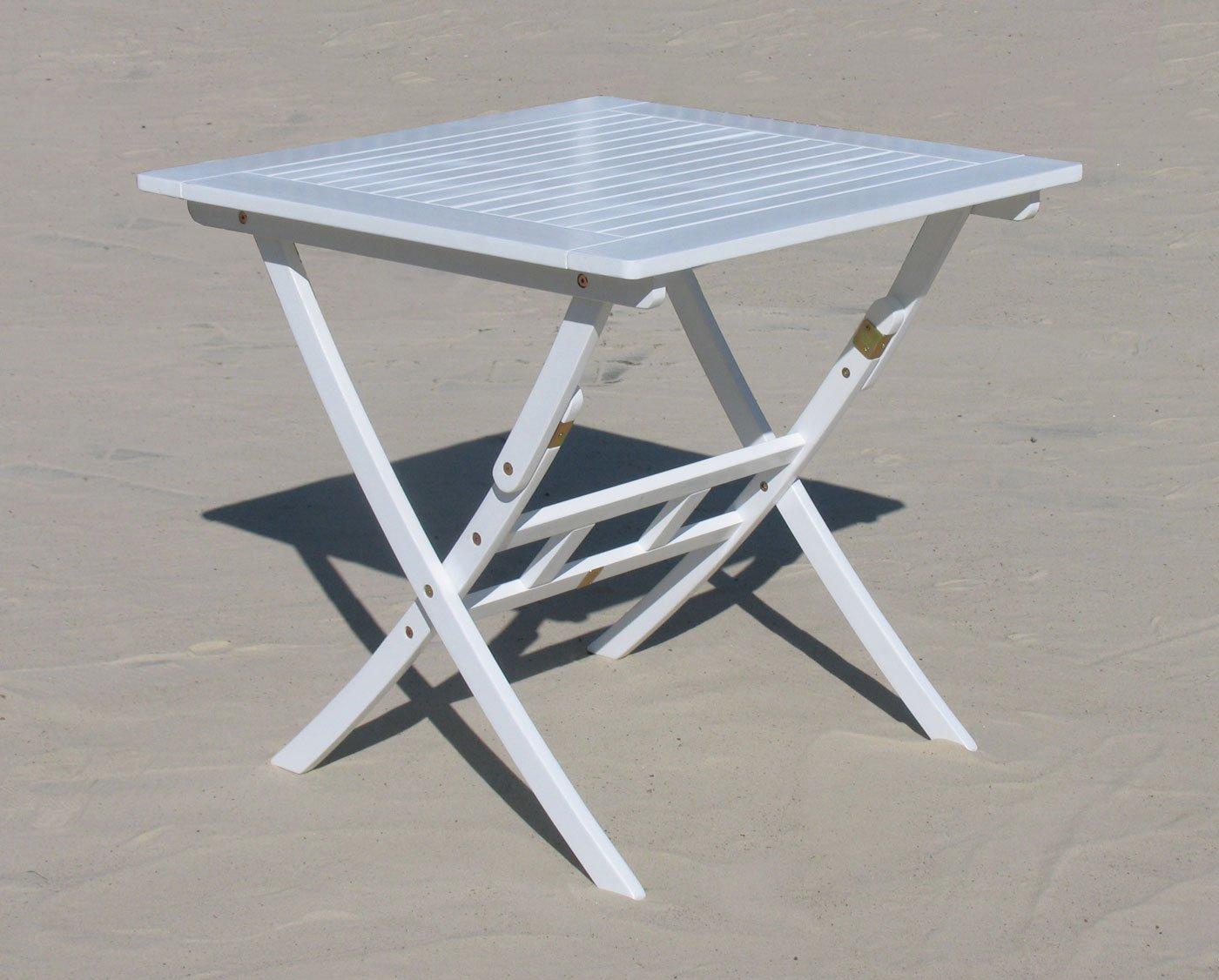 Gartenklapptisch 80x80cm Klapptisch Tisch Santos Weiss