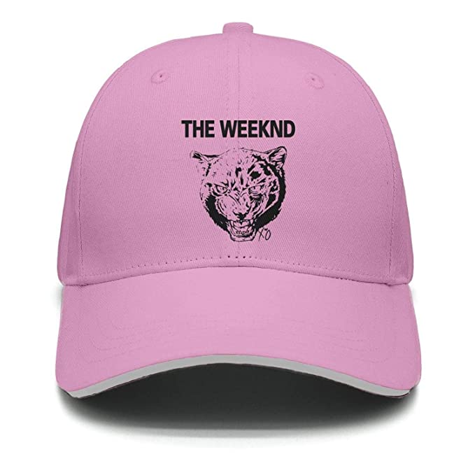 Amazon.com  The Weeknd Cool Tiger Unisex Pink Strapback Hat for Mens ... 3db71b8cb