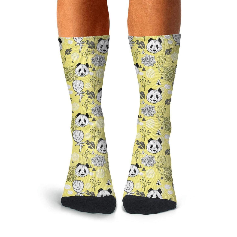 Mens Athletic Cushion Crew Sock Cute Pandas Bear Long Sock Funny