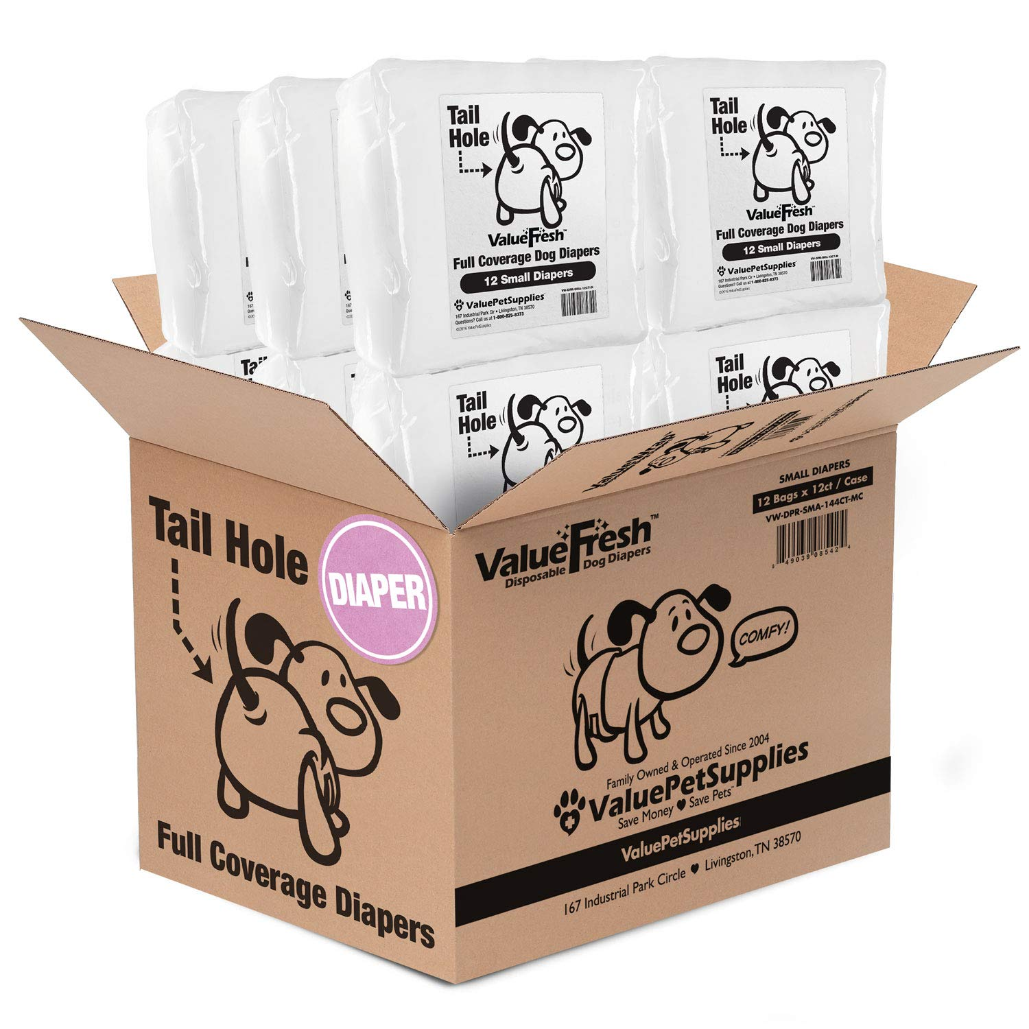 ValueFresh Dog Diapers with Tail-Hole, Small, 144 Count