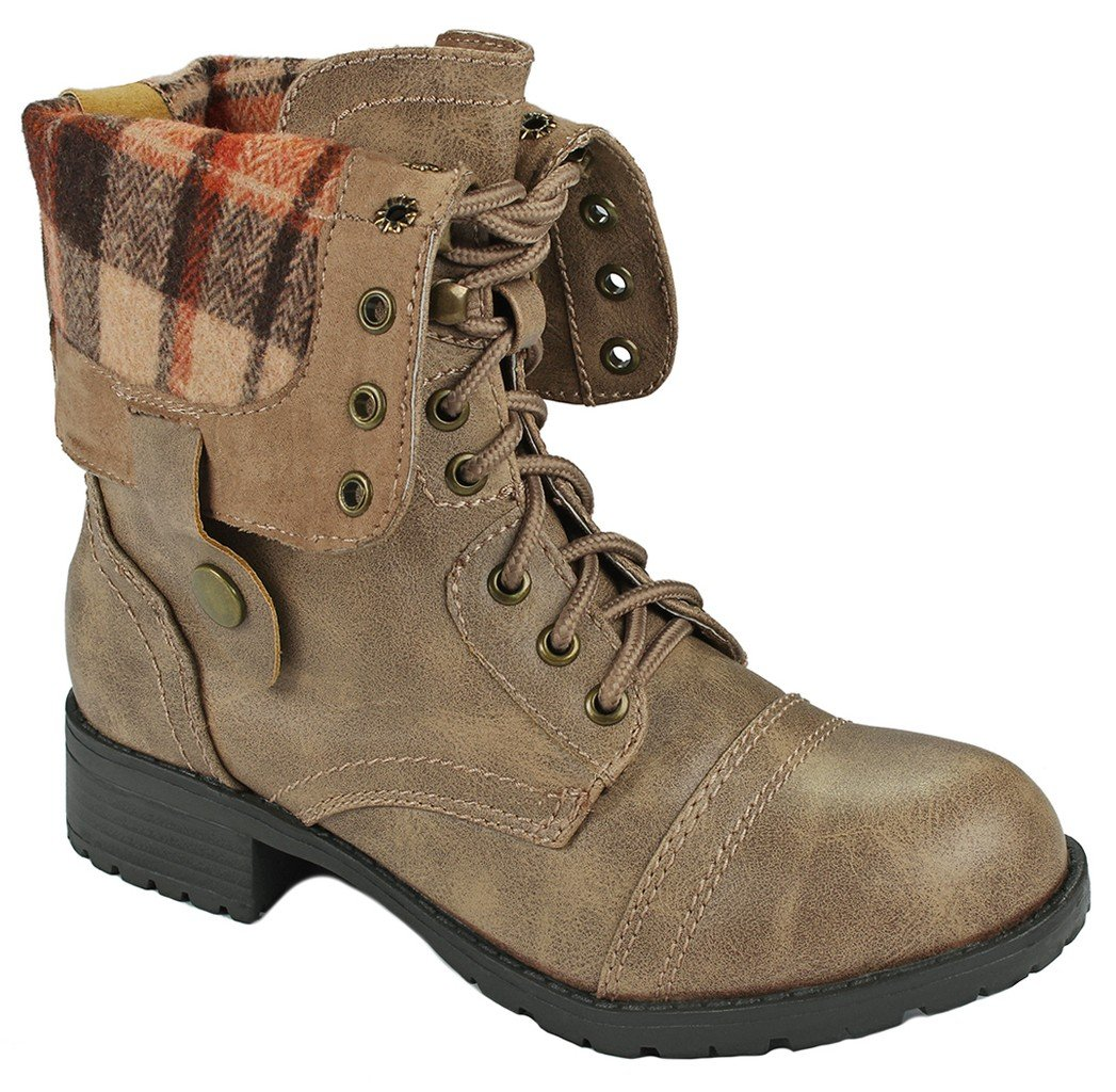 Women Holly-7 Taupe Military Combat Foldable Cuff Faux Leather Plaid/Quilted Back Zipper Lace Up Boots-7