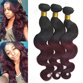 Amazon.com : 12 Bundles of 12A Ombre Hair Extensions Burgundy ...