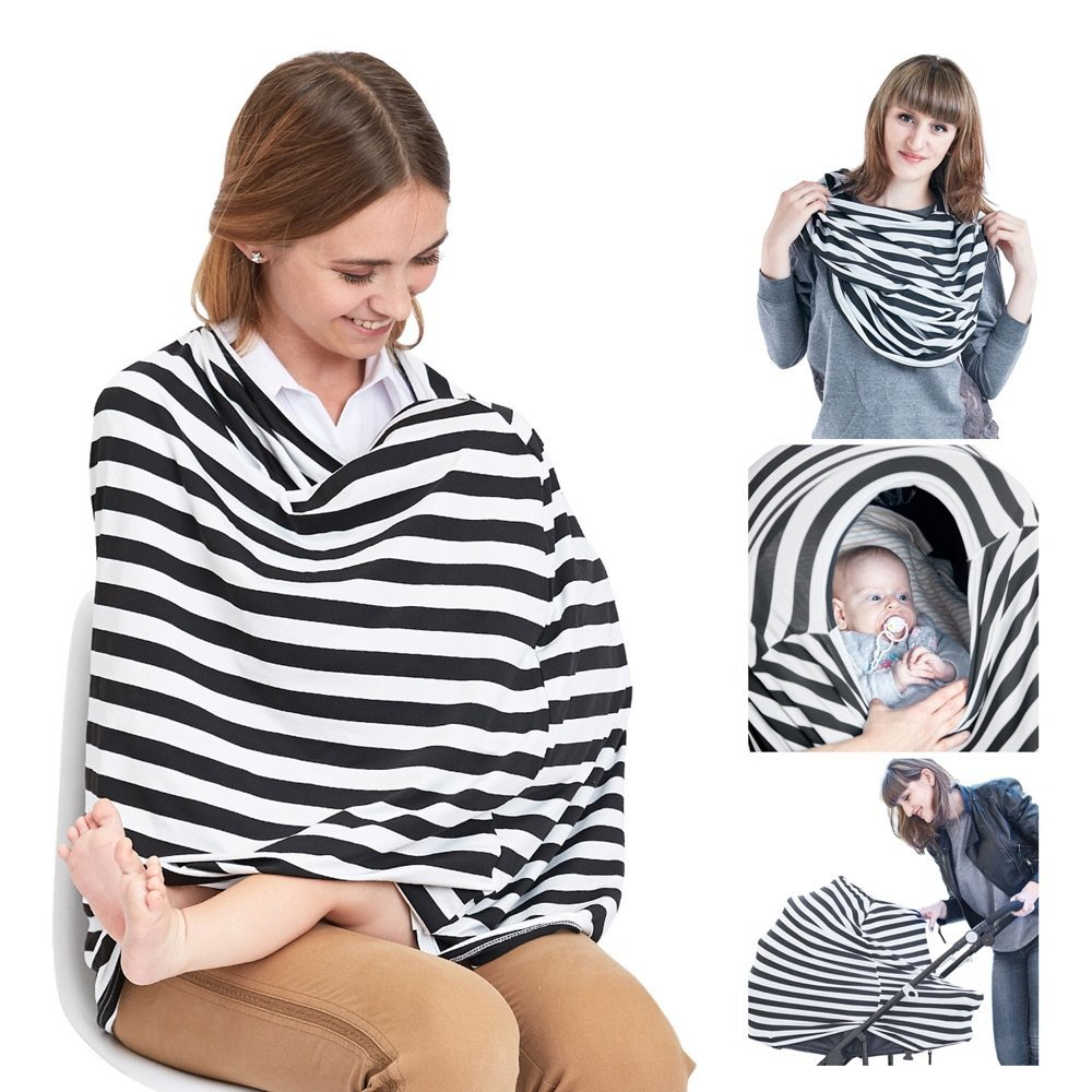 Nursing Cover Breastfeeding Scarf, Baby Car Seat Canopy, Shopping Cart, Stroller, Carseat Covers for Girls and Boys, Best Multi-Use Infinity Stretchy Shawl