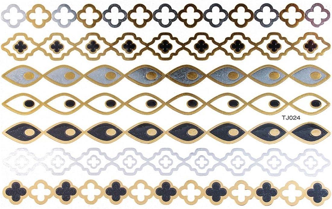 Chic-net tatuaje arco Golden plateado temporal adhesiva diseño de ...