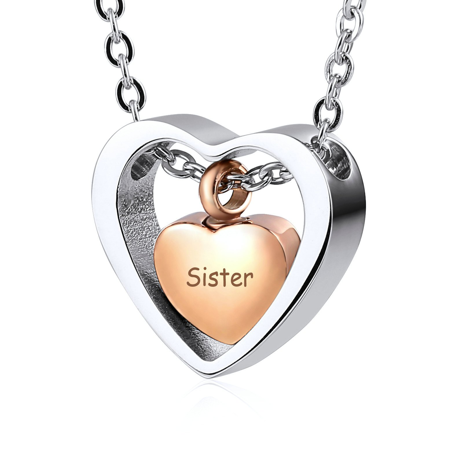 AnaZoz Stainless Steel Rose Gold Plated Heart Urn Pendants Cremation Memorial Jewelry Urns for Human Ashes Necklace Sister