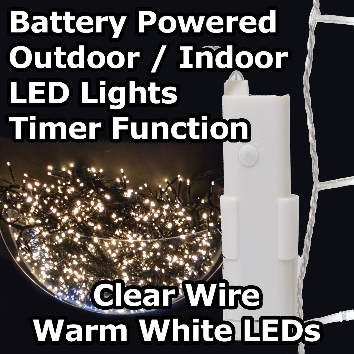 24 white led 17m battery operated outdoor timer lights on clear 24 white led 17m battery operated outdoor timer lights on clear wire warm white amazon lighting mozeypictures Choice Image