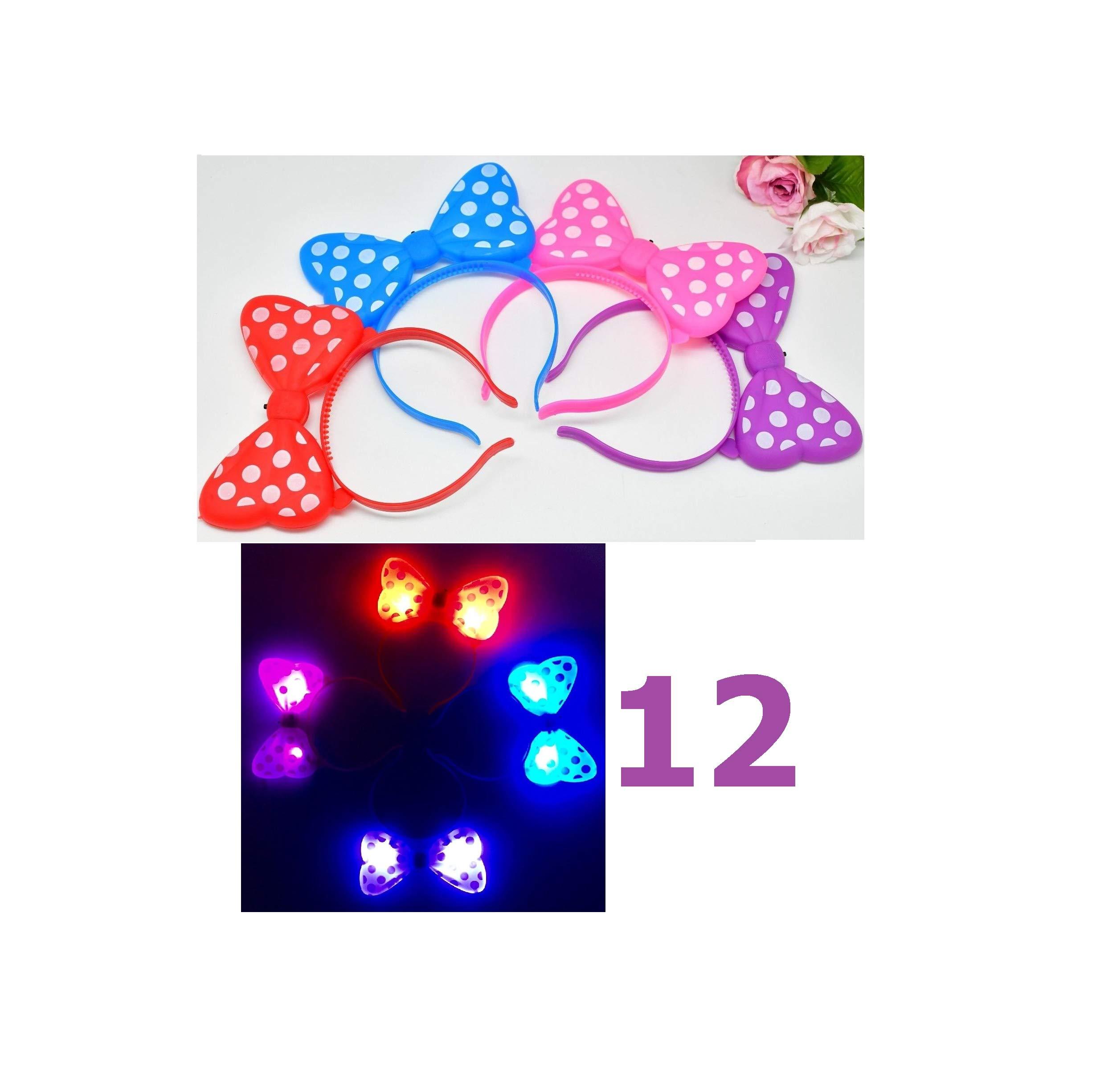 Dozen Jumbo Bows LED Headbands Minnie Mouse Light Party Love Gift Rave Flashing Favors Quick Arrive