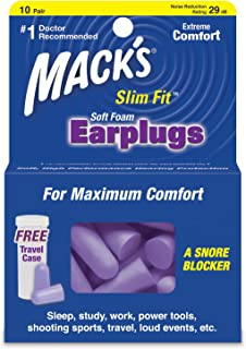 product image for Mack's Slim Fit Soft Foam Earplugs, 10 Pair - Small Ear Plugs for Sleeping, Snoring, Traveling, Concerts, Shooting Sports and Power Tools - Pack of 5