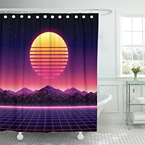 GETTOGET Retro Futuristic 1980S Digital Landscape in Cyber World Wave Music Album with Sun Space Mountains Shower Curtain Bathroom Sets Hooks,Waterproof Polyester Curtain