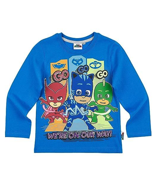 PJ Masks Chicos Camiseta Mangas largas - Azul: Amazon.es: Ropa y accesorios