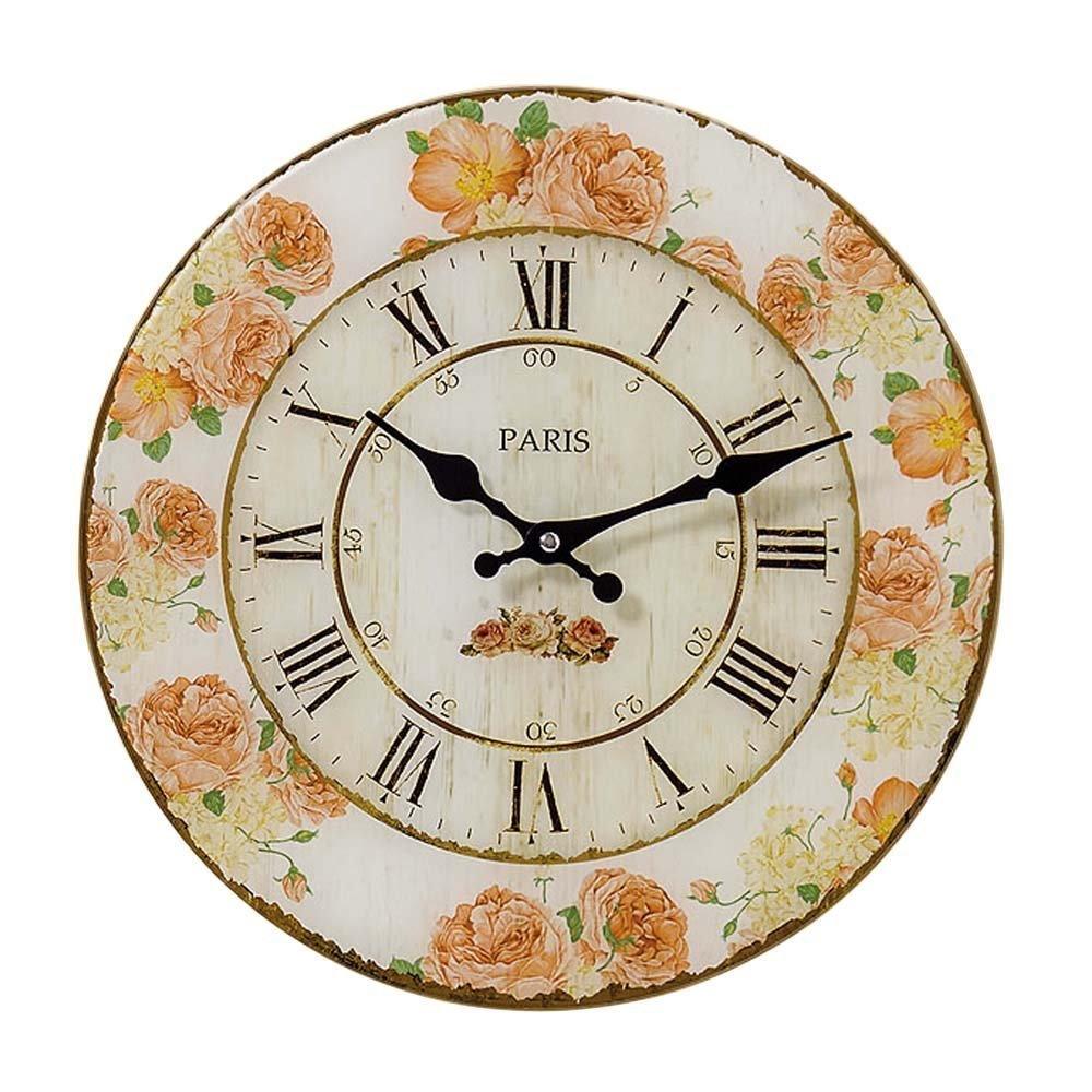 Whole House Worlds The Parisian Rose Wall Clock, Glass, Quartz Movement, Antique Garden Café Style, Over 1 Ft In Diameter, Analog Timepiece, By