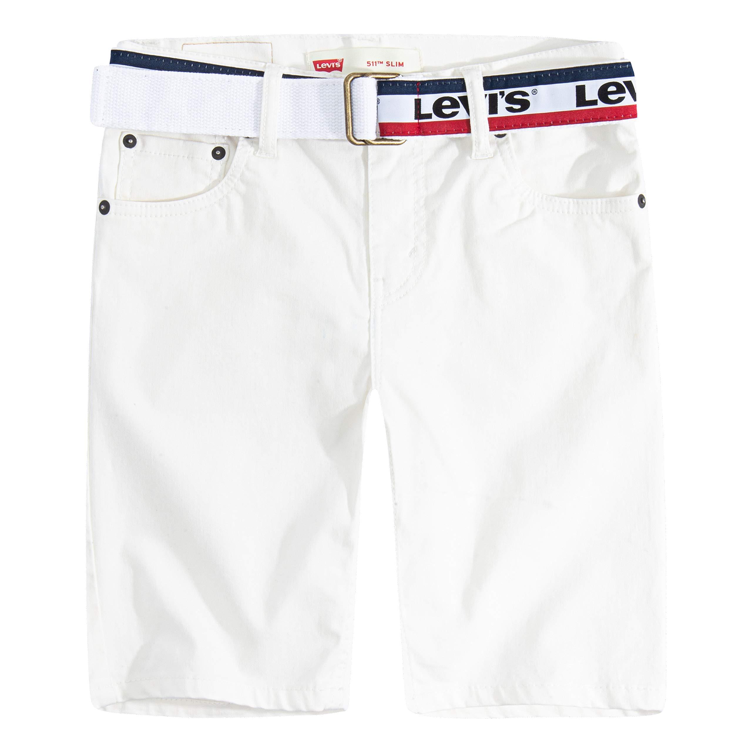 Levi's Boys' Little 511 Slim Fit Soft Brushed Shorts, Cloud Dancer Belted, 6