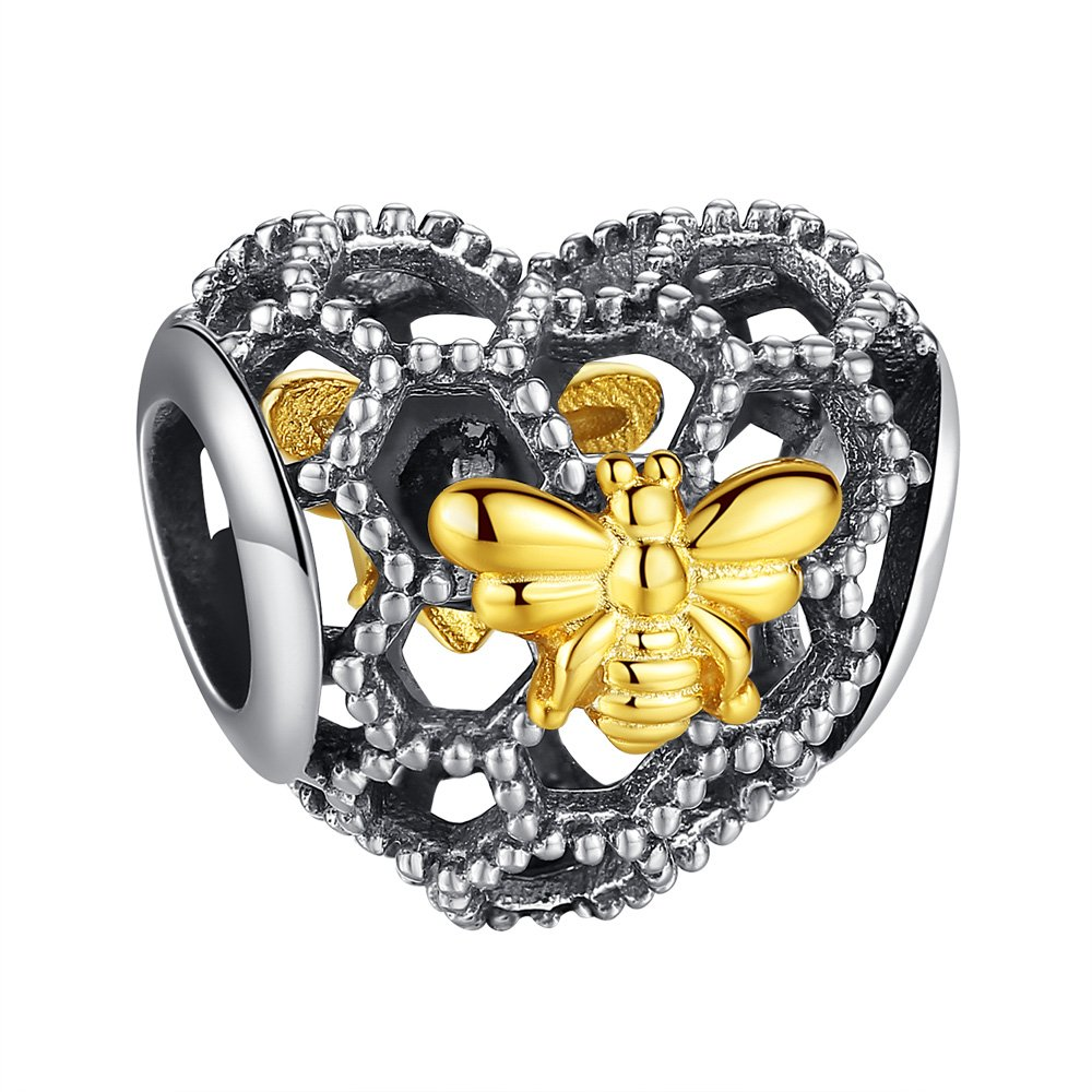 ANGELFLY 925 Sterling Silver Heart Honeycomb and Queen Bee Charms for Charm Bracelets