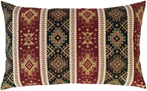"""pillowerus Tapestry Gobelin Burgundy Red-Dark Green 14""""x24"""" Throw Decorative Lumbar Pillow Cover Sham Ethnic Kilim Pattern for Home Office Decor, Sofa, Couch, Porch, Patio, Window Seat"""