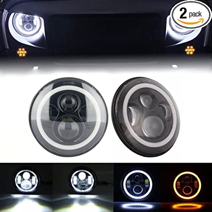 Green L 7 Inch Jeep Wrangler Led Headlights Bulb With Halo Angel Eye Ring Drl Turn Signal Lights For For Jeep Trucks Harley Davidsion Motorcycle
