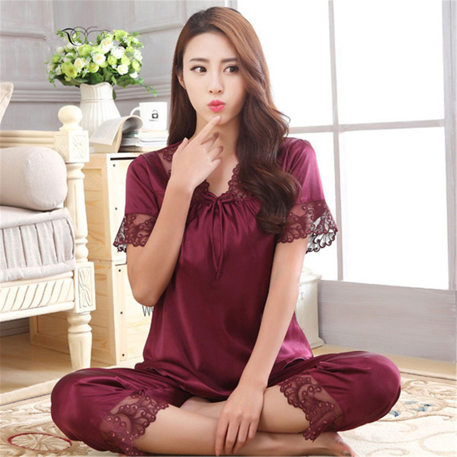 Michael Stevenson New Arrival Summer Women Short Sleeve Sleepwear Silk Pajama Set Two Pieces Sexy Hollow Out Lace V Neck Underwear Set 6 Colors Wine Red Xxl ...